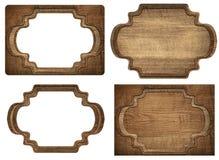 Set brown drewniany signboard, talerze, deski i Obraz Royalty Free
