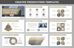 Set of brown elements for multipurpose presentation template slides with graphs and charts. Leaflet, corporate report. Vector template for multipurpose Royalty Free Stock Images