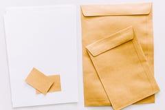 Set of Brown envelopes on white background stock photos