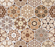 Set from brown hexagonal patterned tiles. Set of hexagonal patterned tiles. Eastern color pattern for the design of fabric, gift wrapping, floor and wall Royalty Free Stock Photo