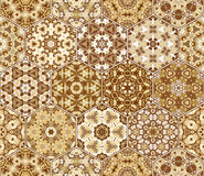 Set from brown hexagonal patterned tiles. Set of hexagonal patterned tiles. Eastern color pattern for the design of fabric, gift wrapping, floor and wall Stock Image