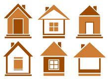 Set brown isolated house Royalty Free Stock Photography