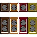 Set of brown, light brown, dark red and light green socket  icons Royalty Free Stock Images