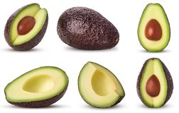 Set brown mature avocado whole, three quarters with bone, cut in royalty free stock image