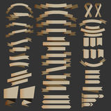 Set of brown metalic ribbons, badges, and label illustration Stock Photos
