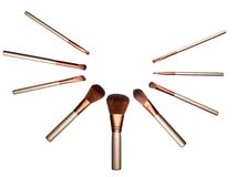 Set brown miękcy kosmetyków muśnięcia odizolowywający Zdjęcie Stock