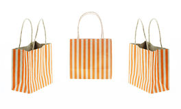 Set 3 Brown paper bag orange stripes isolated on white Royalty Free Stock Photography