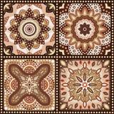 Set brown romantyczni wzory. Wektor Obrazy Stock