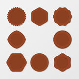 Set of Brown Stamps. Distressed Stamp Texture. Post Stamp Collection. Vector Stamps. Circle Stamps . Royalty Free Stock Photo
