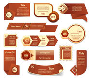 Set of brown vector progress, version, step icons. Stock Photography