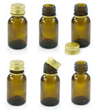 Set of brown vials Royalty Free Stock Images