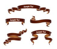 Set of brown vintage scroll ribbon banners. Vector illustration. Royalty Free Stock Image