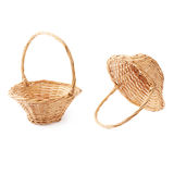 Set of brown wicker basket isolated over the white background Stock Images