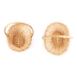 Set of brown wicker basket isolated over the white background Stock Photo