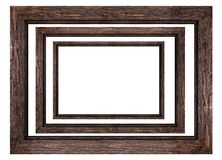 A set of brown wooden frames for pictures and photos isolated on white background. Used to design stock illustration