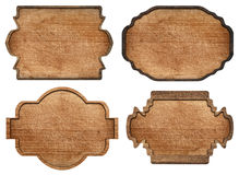 Set of brown wooden signboard, plates, planks and Stock Photos