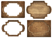 Set of brown wooden signboard, plates, planks and Royalty Free Stock Image