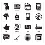 Set of Browser, Grid, Chat, Email, Like, Mobile phone, Cloud computing, Diskette, User icons. Set Of 16 simple  icons such as Browser, Grid, Pencil, Chat, Router Stock Photo
