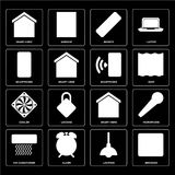 Set of Browser, Lighting, Air conditioner, Smart home, Cooler, S. Set Of 16 icons such as Browser, Lighting, Alarm, Air conditioner, Microphone, Smart home stock illustration