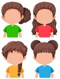 Set brunetka żeński charakter ilustracja wektor