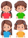 Set brunetka żeński charakter ilustracji