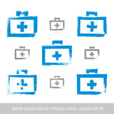 Set of brush drawing simple blue first aid kit, medicine icons c. Reated with real hand-drawn ink brush scanned and vectorized, freehand strokes icons Stock Images