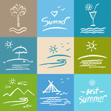 Set brush painted illustrations. Vacation, travel and tourism. Royalty Free Stock Photography