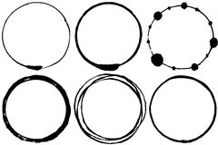 Set of brush stroke circles. Set of grunge circle brush strokes. thin circles Stock Image