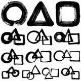 Set of brush stroke illustrations. circle, triangle, square. Royalty Free Stock Image