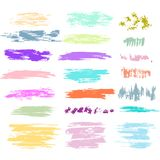Set of Brush Strokes in Pastel colors Stock Images