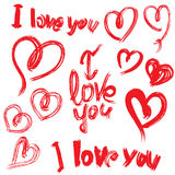 Set of brush strokes and scribbles in heart shapes and words I L Royalty Free Stock Photo