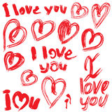Set of brush strokes and scribbles in heart shapes and words I L Stock Photos