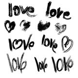 Set of brush strokes and scribbles in heart shapes and words  Stock Photography