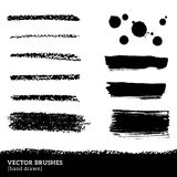 Set of brush strokes. Vector illustration. Grunge ink and paints stains. Black pastel crayons and pencil strokes. Isolated on white background. Abstract design stock illustration