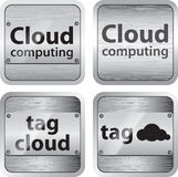A set of brushed metallic buttons. Set of cloud computing and tag cloud buttons vector illustration