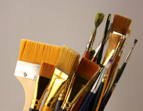 Set brushes. Variety of artist paint brushes stock photos