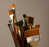 Set brushes. Variety of artist paint brushes royalty free stock images
