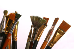 Set brushes. Old paintbrushes on a white background stock photography
