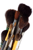 A set of brushes of the artist. A set of watercolor brushes artist isolated on white background stock images
