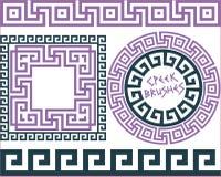 Set 5 Brushes Greek Meander patterns Royalty Free Stock Images