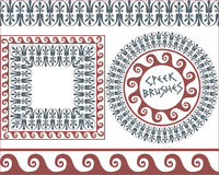 Set 4 Brushes Greek Meander patterns Stock Photo