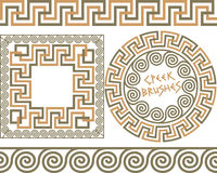 Set 3 Brushes Greek Meander patterns Stock Photography