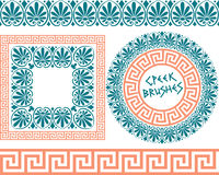 Set 1 Brushes Greek Meander patterns Royalty Free Stock Photography
