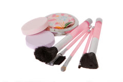 Set of Brushes for makeup. Set of Brushes, sponges and mirror for makeup royalty free stock image