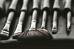 Set of brushes for makeup in a black cover placed in a row, fron Stock Photography
