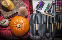Set of brushes for makeup  with halloween objects Royalty Free Stock Photo