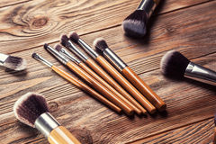 Set of brushes for makeup Stock Photos