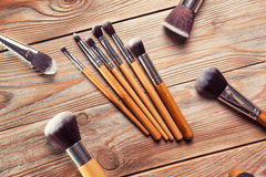 Set of brushes for makeup Royalty Free Stock Photos