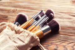 Set of brushes for makeup Royalty Free Stock Image