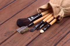 Set of brushes for makeup scattered chaotically Royalty Free Stock Image